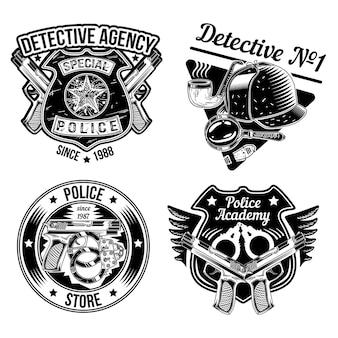Набор детективных эмблем, этикеток, значков, логотипов.