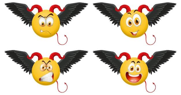 顔の表情と悪魔の絵文字のセット