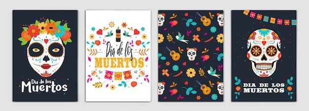カラフルなメキシコの花とdiaデロスムエルトスカードのセット