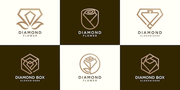 Набор бриллиантовых цветов и логотипа diamond box
