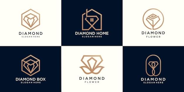 ダイヤモンドの家、ダイヤモンドの花とダイヤモンドボックスのロゴのセット