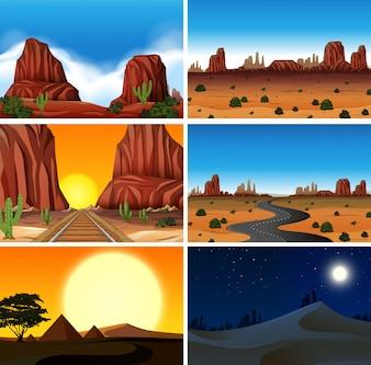 Set of diferent desert scenes
