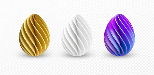 白い背景で隔離のさまざまな3dリアルな、光沢のある、金色の、ホログラフィックイースターエッグのセットです。ベクターイラストeps10