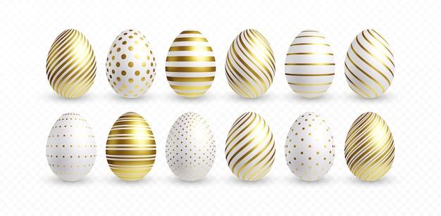 Набор различных 3d реалистичных, блестящих, золотых, голографических пасхальных яиц, изолированных на белом фоне. векторная иллюстрация eps10