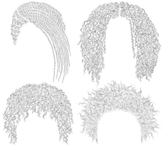 Множество различных афро причесок. дреды мозоли круглые растрепанные вьющиеся волосы. мода красота африканского стиля. бахромой карандашный рисунок эскиз.