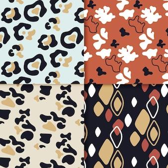 さまざまな動物のプリントパターンのセット