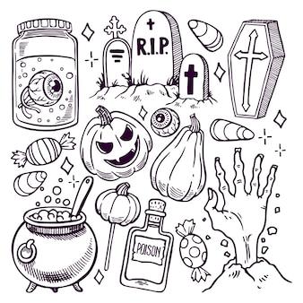 Набор различных атрибутов хэллоуина. рисованная иллюстрация