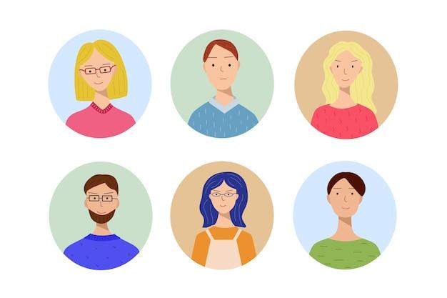 남자와 여자와 다른 아바타의 집합입니다. 나이와 외모가 다른 사람들의 초상화. 아이콘, 아바타, 세로 디자인을 위한 최신 유행 스타일 일러스트레이션.