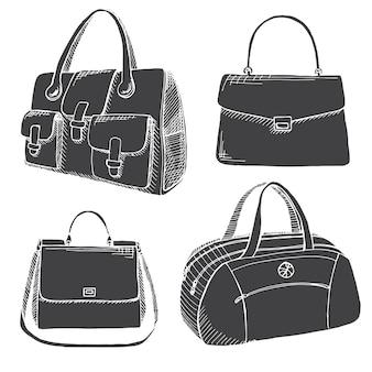 さまざまなバッグ、男性、女性、ユニセックスのセット。白い背景で隔離のバッグ。スケッチスタイルのベクトルイラスト。