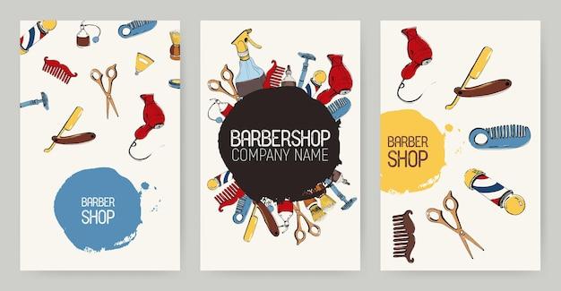 さまざまな理髪店の広告の背景のセット。ツールとカラフルな背景。ベクターテンプレートコレクション。
