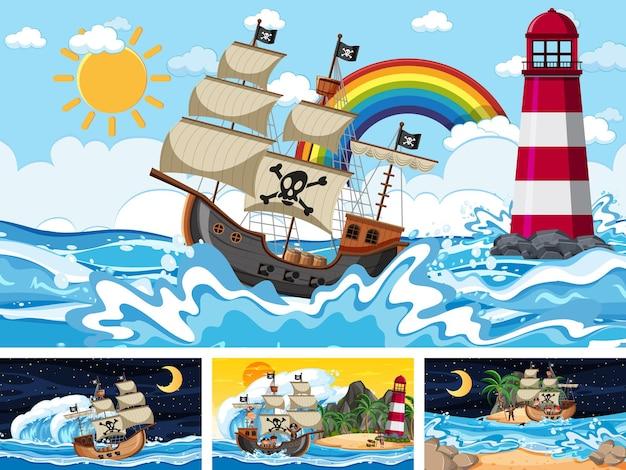 Набор различных пляжных сцен с пиратским кораблем и персонажем пиратского мультфильма