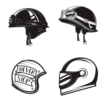 흰색 배경에 다른 자전거 헬멧의 집합입니다.