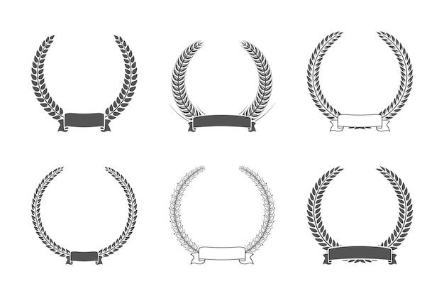 Набор различных черный и белый силуэт круговой лавровый лист. шаблон для награды, достижения, геральдики, дворянства. векторная иллюстрация.