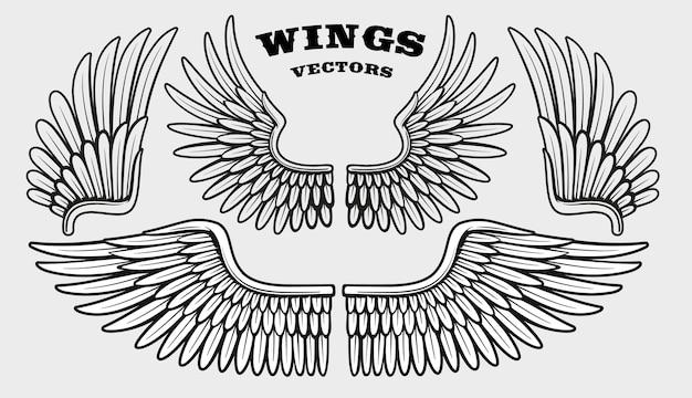 異なる黒と白の翼のセット
