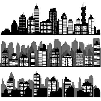 Набор различных черных горизонтальных ночных городских пейзажей. силуэты города, элемент дизайна баннеров, веб-дизайн, архитектурный фон