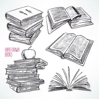さまざまな本のセット。手描きイラスト