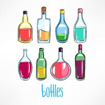 カラフルな飲み物と別のボトルのセット。手描きイラスト
