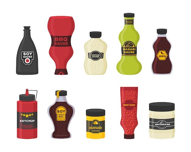 ソース付きのさまざまなボトルのセット-ケチャップ、マスタード、大豆、わさび、マヨネーズ、フラットなデザインのバーベキュー。白い背景で隔離の料理のコレクションボトルとボウルソース。図。