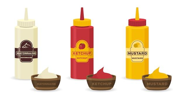 Набор различных бутылок с соусами - кетчуп, горчица, соя, васаби, майонез, барбекю в плоском дизайне. бутылка для сбора и соус миску для приготовления пищи, изолированные на белом фоне.
