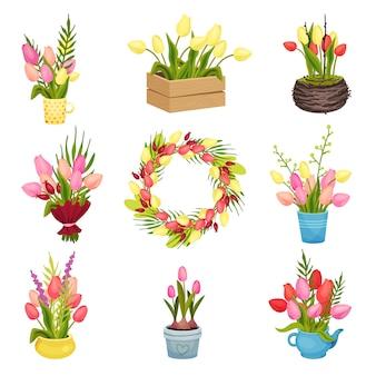 チューリップの異なる花束のセットです。紙、マグカップ、引き出し、ポット。ベクトル画像。