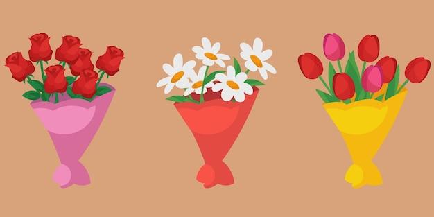 さまざまな花束のセット。漫画風のバラ、チューリップ、デイジー。