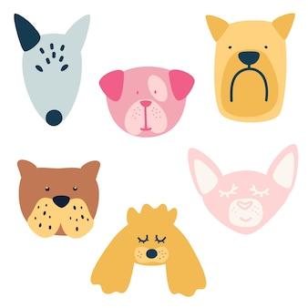 異なる品種の犬のセット。ブルテリア、マルチーズ、プードル、ブルドッグ犬、チワワ。犬の顔のコレクション白い背景に落書きスタイルで手描きの孤立したベクトル図