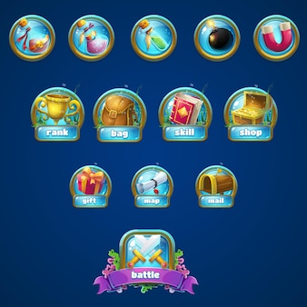 Набор различных кнопок, бустеров для игры