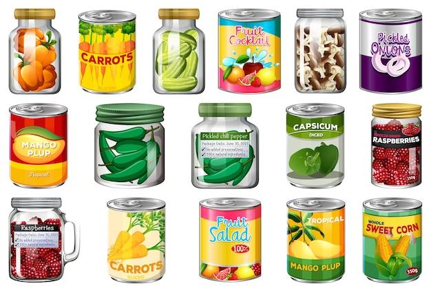 別の缶詰食品と分離されたjarファイルの食品のセット