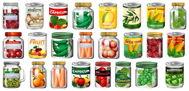 さまざまな缶詰食品と分離された瓶の中の食品のセット