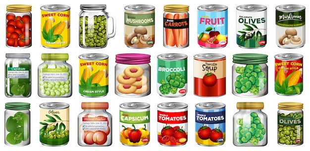 고립 된 항아리에 다른 통조림 식품 및 식품 세트