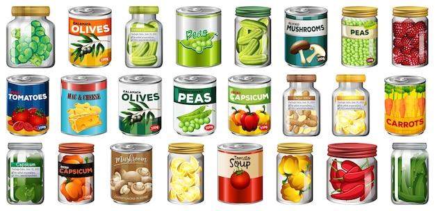 Набор различных консервов и продуктов питания в изолированных банках