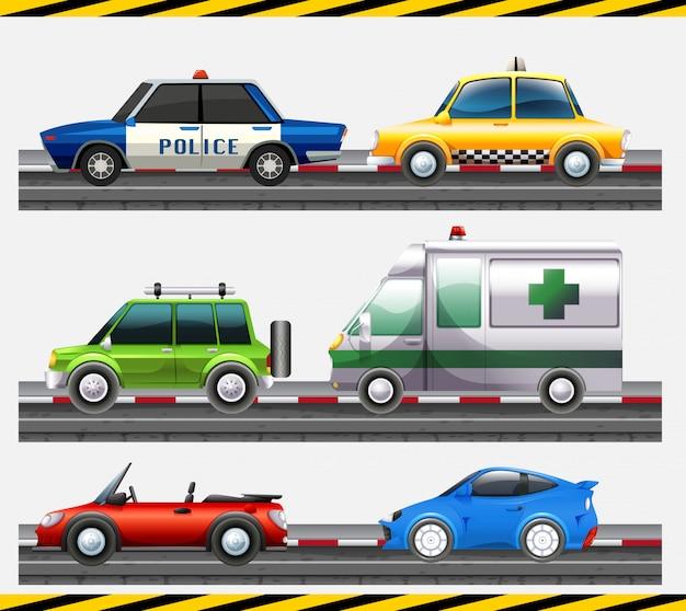 Набор разных автомобилей на дороге
