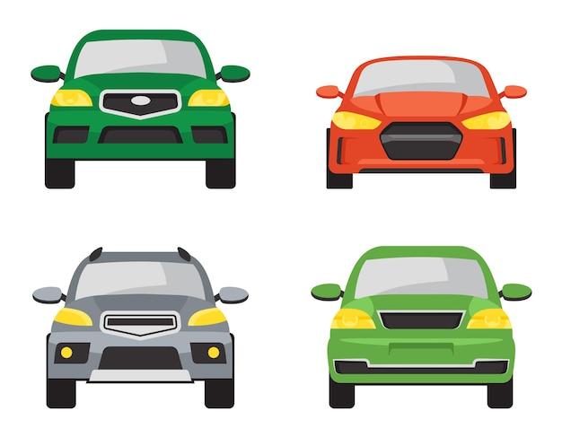 別の車の正面図のセット。漫画のスタイルの自動車のバリエーション。