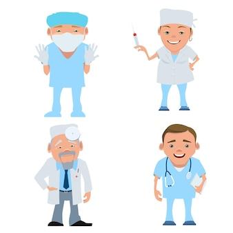 다른 캐릭터 의사의 집합입니다. 만화 의료 전문가