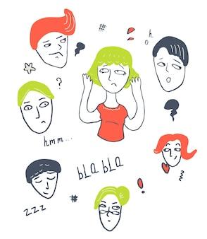 Набор различных персонажей эмоции, лица и головы каракули рисованной иллюстрации
