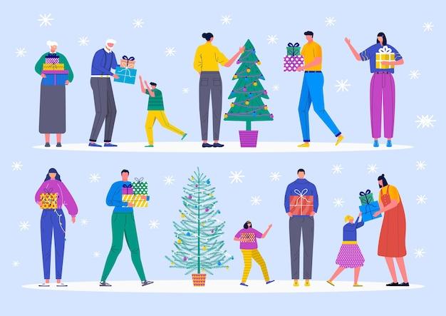 크리스마스 선물이 있는 다른 문자 집합입니다. 어린 소년과 소녀, 성인 부모, 어린이 및 가족들이 크리스마스 트리를 장식합니다. 전나무 나무와 눈송이, 벡터 컬렉션 아래 선물