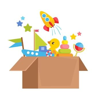 段ボール箱のさまざまな子供のおもちゃのセットオンラインベビーストアから注文ベクトル