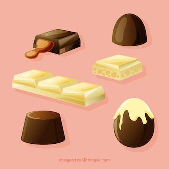 異なるチョコレートキャンディのセット