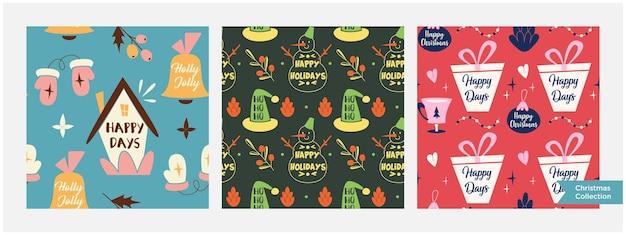 Набор различных рождественских бесшовные модели бесконечные текстуры для оберточной бумаги в стиле ретро