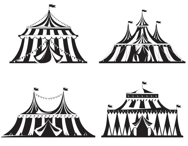 다른 서커스 텐트 세트. 흑백 스타일의 삽화.