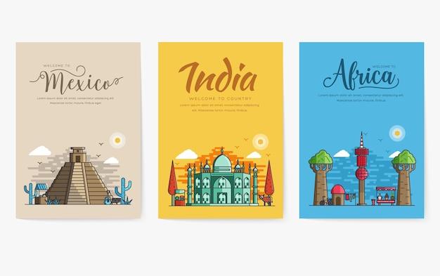 Набор разных городов для путешествий.
