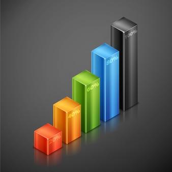 다른 색상 사용자 정의 금속 요소 집합입니다. 3d infographics 히스토그램