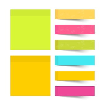 Set of different color sheets papers sticky note.
