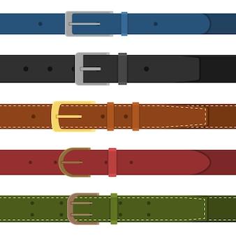 Набор разноцветных застегивающихся на пряжку ремней. элемент дизайна одежды. ремень брючный в плоском стиле.