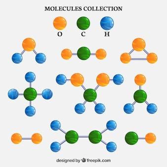 Набор различных цветных молекул
