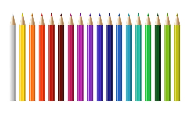 Набор различных цветных карандашей, изолированные на белом фоне. векторная иллюстрация.
