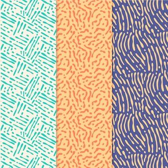 異なる色の丸みを帯びた線パターンのセット