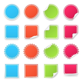 다른 다채로운 스티커 세트입니다.