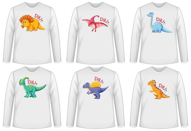 Набор разноцветных экранов динозавров на футболке с длинным рукавом