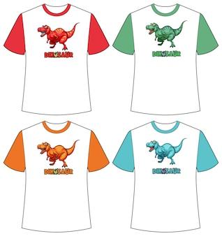 티셔츠에 다른 색상의 공룡 화면 세트